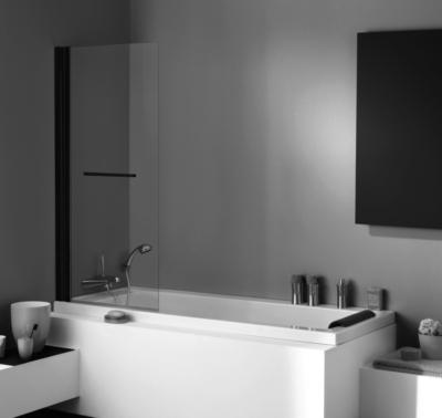 Pare Baignoire Brise 1 Volet Relevable Pivotant Profile Noir L 710 X H 1400 Mm Jacuzzi 1116189 Salle De Bains L Entrepot Du Bricolage