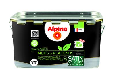Peinture Murs Et Plafonds Blanc Satin 0 Conservateur 2 5 L Alpina Premium 1220260 Sol Et Mur Interieur L Entrepot Du Bricolage