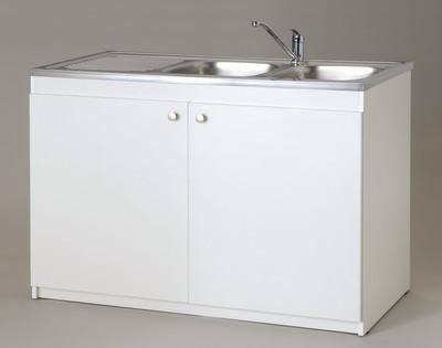 Meuble Blanc Sous Evier 2 Portes L 1200 X H 820 X P 570 Mm 603850 Cuisine L Entrepot Du Bricolage